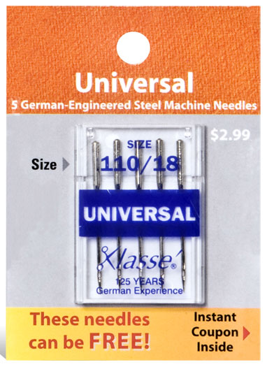 Klasse Universal Needles (5 pk) Size 110/18