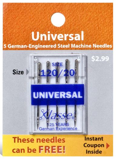 Klasse Universal Needles (5 pk) Size 120/20