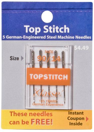Klasse Top Stitch Needles (5 pk) size 90/14