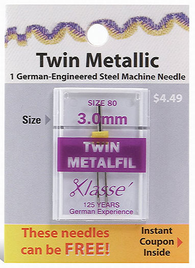 Klasse Twin Metallic Needle Size 80 3.0mm