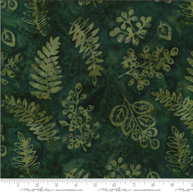 Jungle Dark Green Leaves - Malibu Batiks by Moda