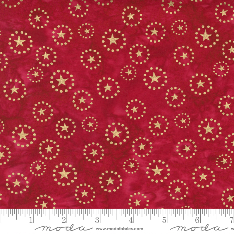 Felicity Batiks Stars Metallic Red