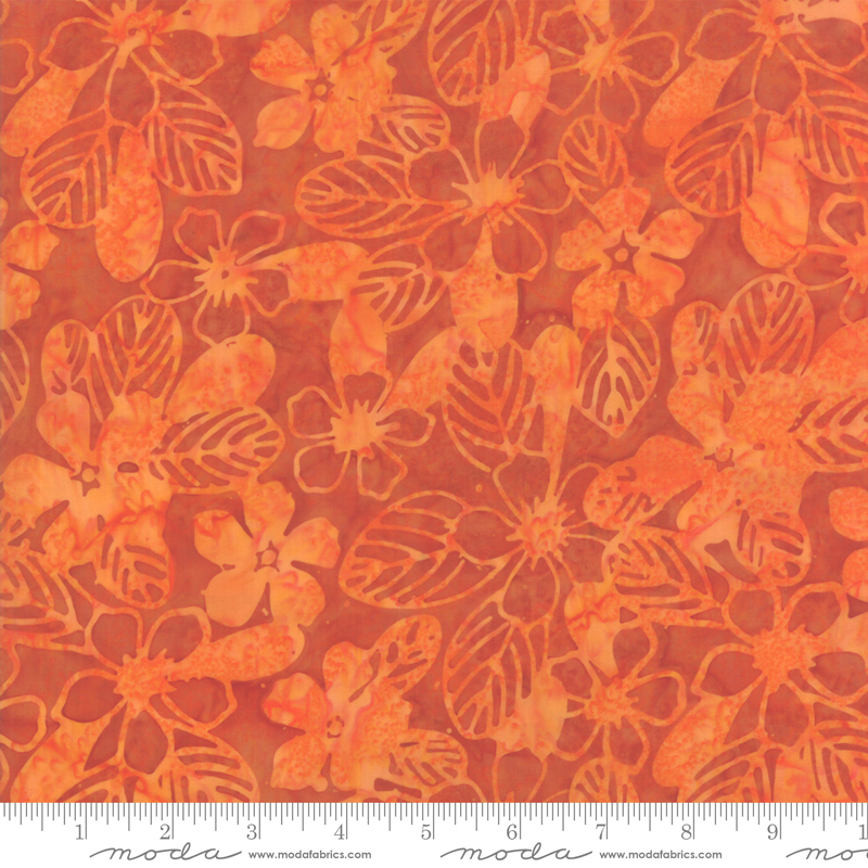 Batik -Aloha Orange flowers