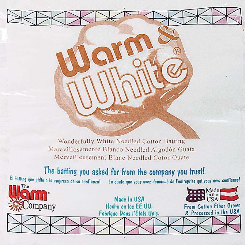 Warm & White Cotton Batting, Queen Size, 90 x 108