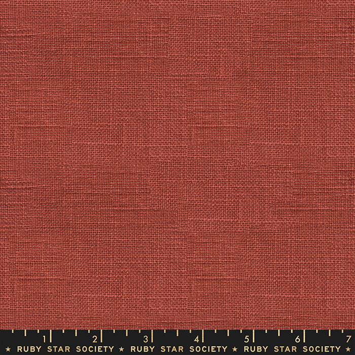 Ruby Star Warp Weft Wovens - Chore Coat Textured Solid - Persimmon