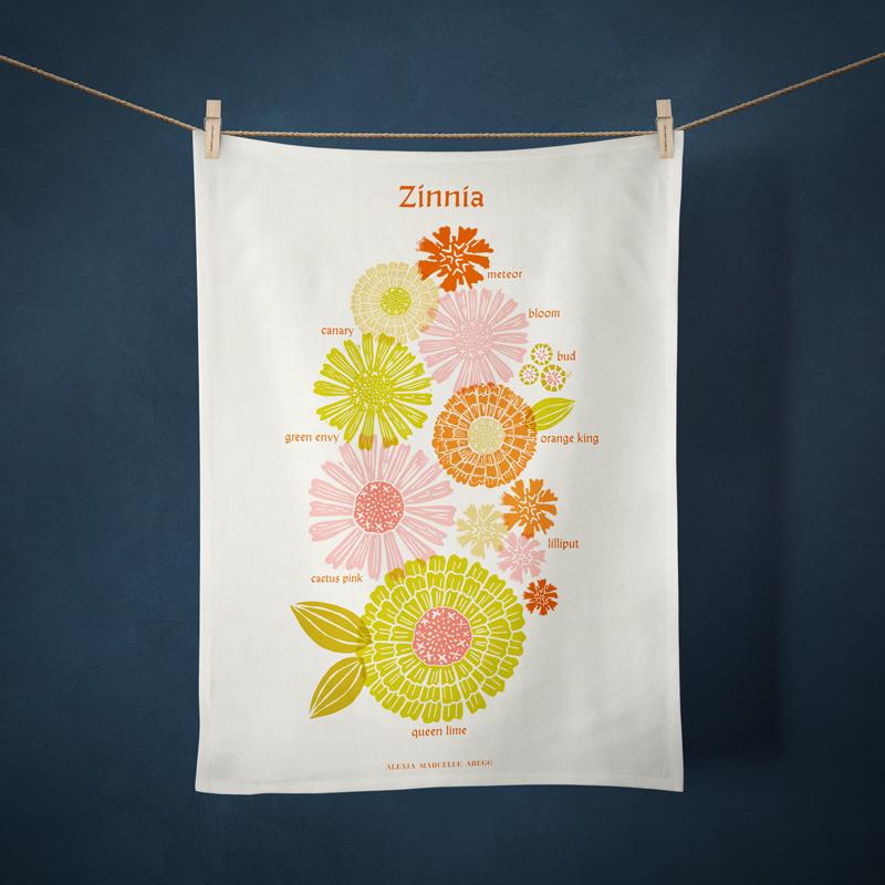 2021 Tea Towel Zinnla - By Alexia Abegg For Ruby Star Society