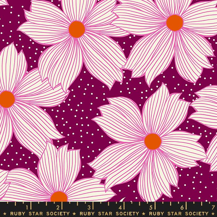 Crescent Floral PURPLE (Fuscia) Velvet