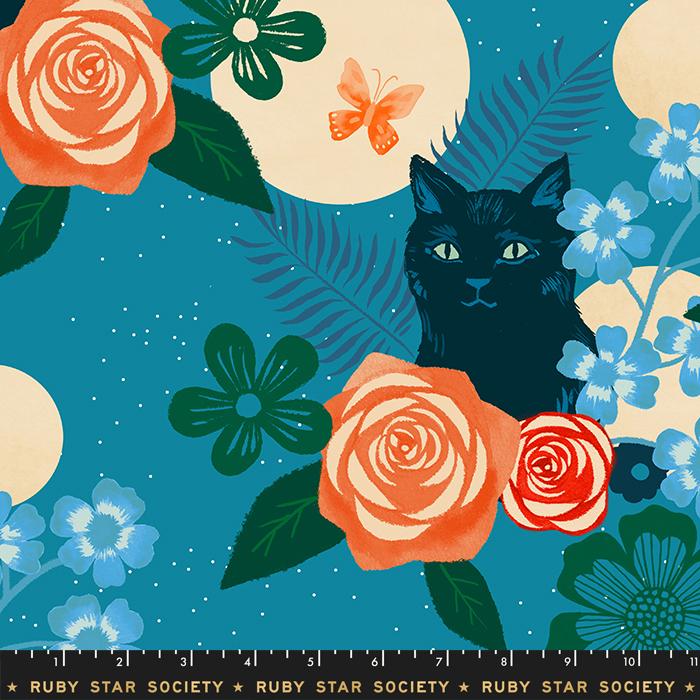 Magic Cat: Teal (Rayon) - Ruby Star Society - Moda Fabrics