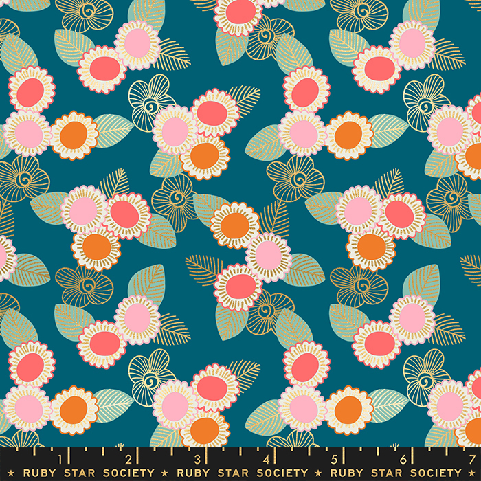 Purl Embroidered Floral teal