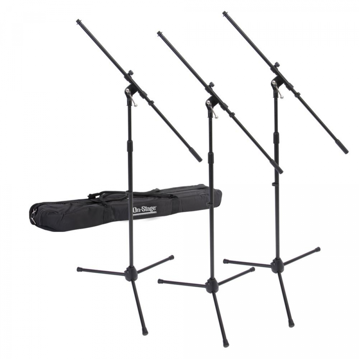 On Stage 3 Pack Euroboom Mic Stands w/ Bag