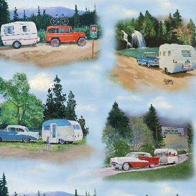Vintage trailers blue