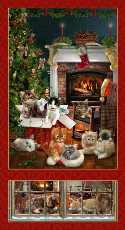 Henry Glass Fireside Kittens 9055P-88 Kitten Banner Panel