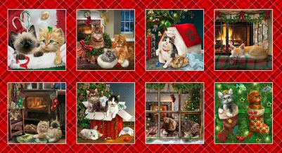 Henry Glass Fireside Kittens 9056-88 Blocks Panel-Red