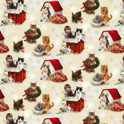 Henry Glass Fireside Kittens 9059-40 Scenic Kittens - Off White