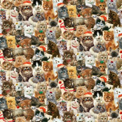Henry Glass Fireside Kittens 9063-44 Packed Kittens All Over Cream