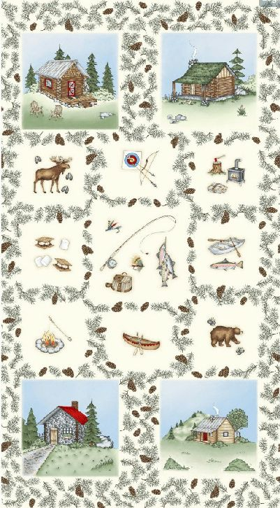 Cozy Cabin Camping Fabric Panel / 24 x 44 inch Camping Fabric Panel / Cozy Cabin Camping Panel / Fishing Quilt top panel / Camping Panel