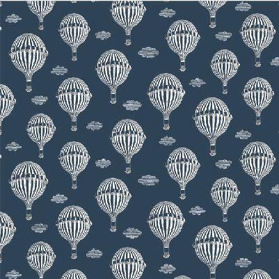 Michael Miller La Parisienne Hot Air Balloons - Navy
