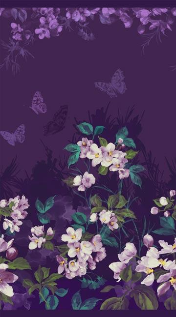 Mystic Garden - Border Butterflies and Flowers Purple