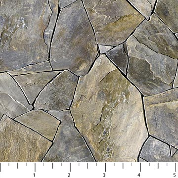 SPECIALTY FABRICS: Slate Gray Pavers :  Naturescapes by Deborah Edwards for Northcott