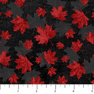 Northcott Canadian Classics Maple Leaf Red on Black