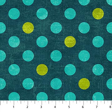 Blue-Green and Lime Dots on Peacock: Canvas Spot On by Deborah Edwards for Northcott