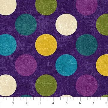 Canvas  22606-88  Amethyst w/ Multi Large Dots,  Canvas Spot On,  Northcott