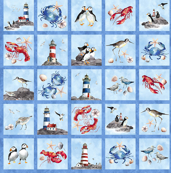 Atlantic Shore Lighthouse Quilt Panel Northcott 22617-42