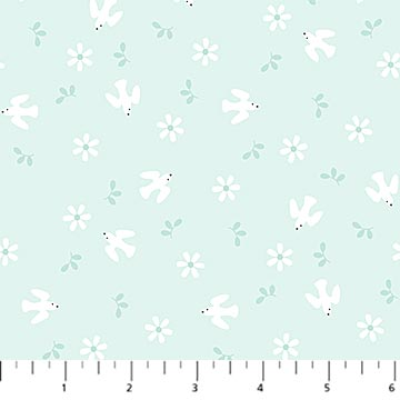HELLO LITTLE ONE TURQUOISE sale PRE-CUT 1.125YDS