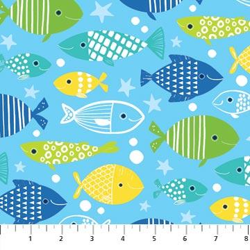 N-22724-42 Go Fish Multi Fish on Med Blue