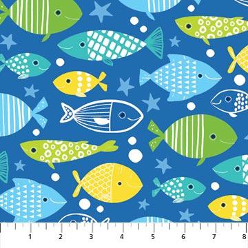 N-22724-44 Go Fish Multi Fish on Dark Blue