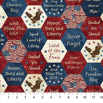 Patriotic Hexies Fabric Stars & Stripes Collection by Northcott