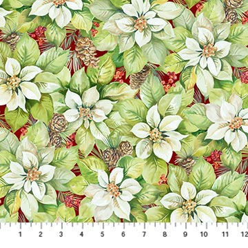 Northcott 22882-24 Deck the Halls Collection in Medium Foral