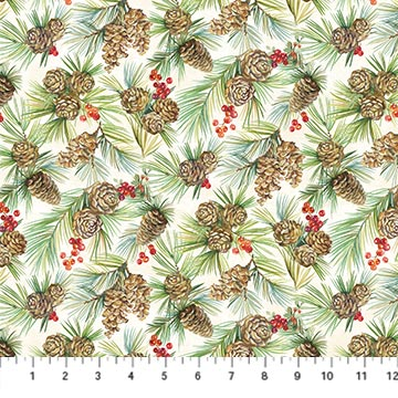 Deck The Halls Cream Pinecone Print