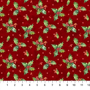 Northcott 22884-24 Deck the Halls Collection Small Floral with Red Background