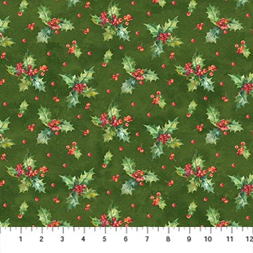 Deck The Halls Green Holly Print