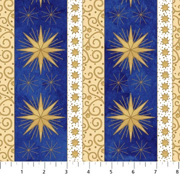 Metallic Gold Star Stripes on Blue and Gold: Angels Above by Deborah Edwards for Northcott