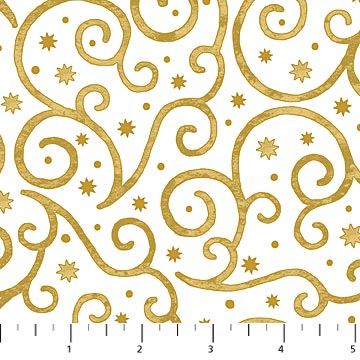 Angels Above Swirls Gold/White Metallic