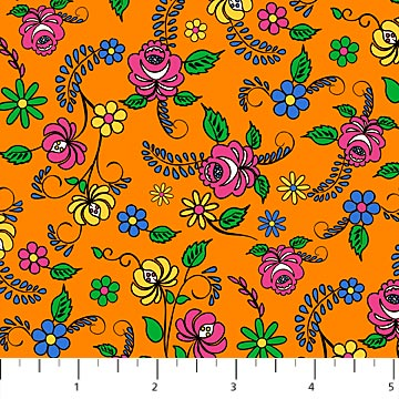 Pink, Yellow, Blue, and Green Flowers on Orange:  Nine Lives by Northcott