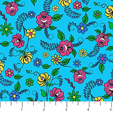 Northcott Nine Lives Flowers and Leaves - Blue (Min order 1m)