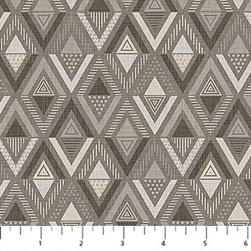 Northcott Cosmo Linear Triangles - Taupe/Dove  (min. order 1 m)