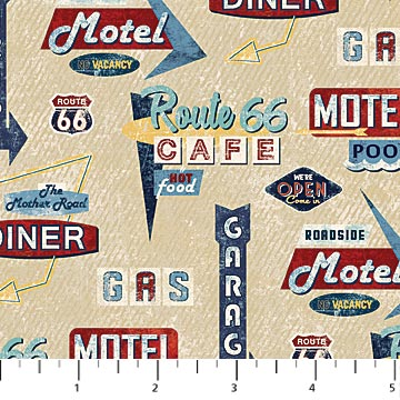 Route 66 Beige Multi Motel Signs