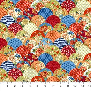 Northcott -Kyoto Garden 23274M 24 Red MultiScallop