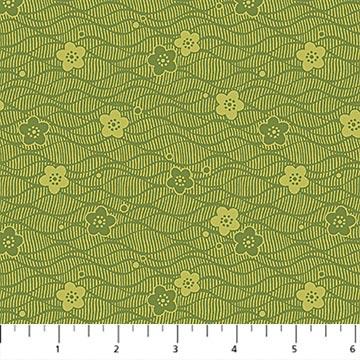 Northcott -Kyoto Garden 23276 74 Green Flower Blender