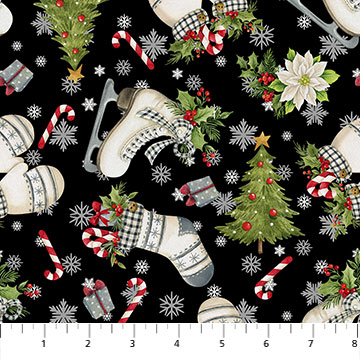 FARMHOUSE CHRISTMAS BLACK MULTI - 23495-99