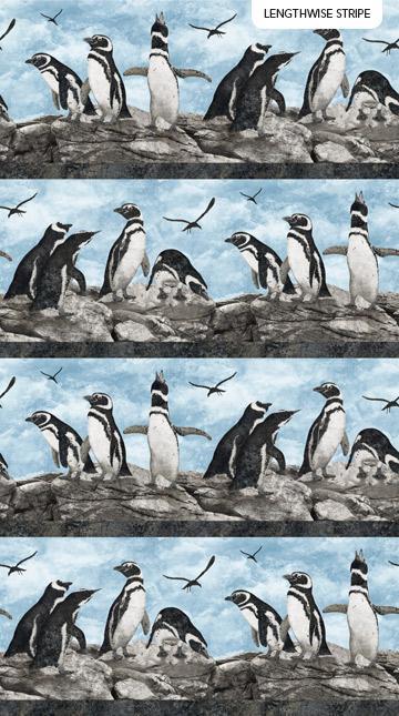 Fabric-Northcott Magdalena Stonehenge Penguin Stripe