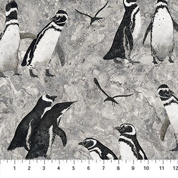 Fabric-Northcott Magdalena Stonehenge Penguins on Dk Gray