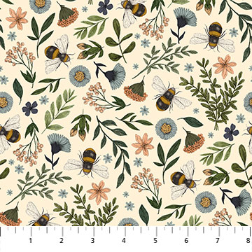 Bee Kind -- 23785-11 Floral & Bee Toss/Cream Multi