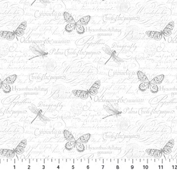 Orchids in Bloom - Northcott - Butterflies - White/Grey