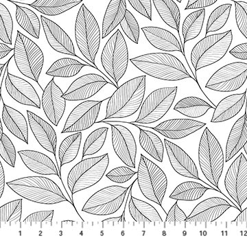Simply Neutral 2- wht/blk Large Leaf Toss 23913 99