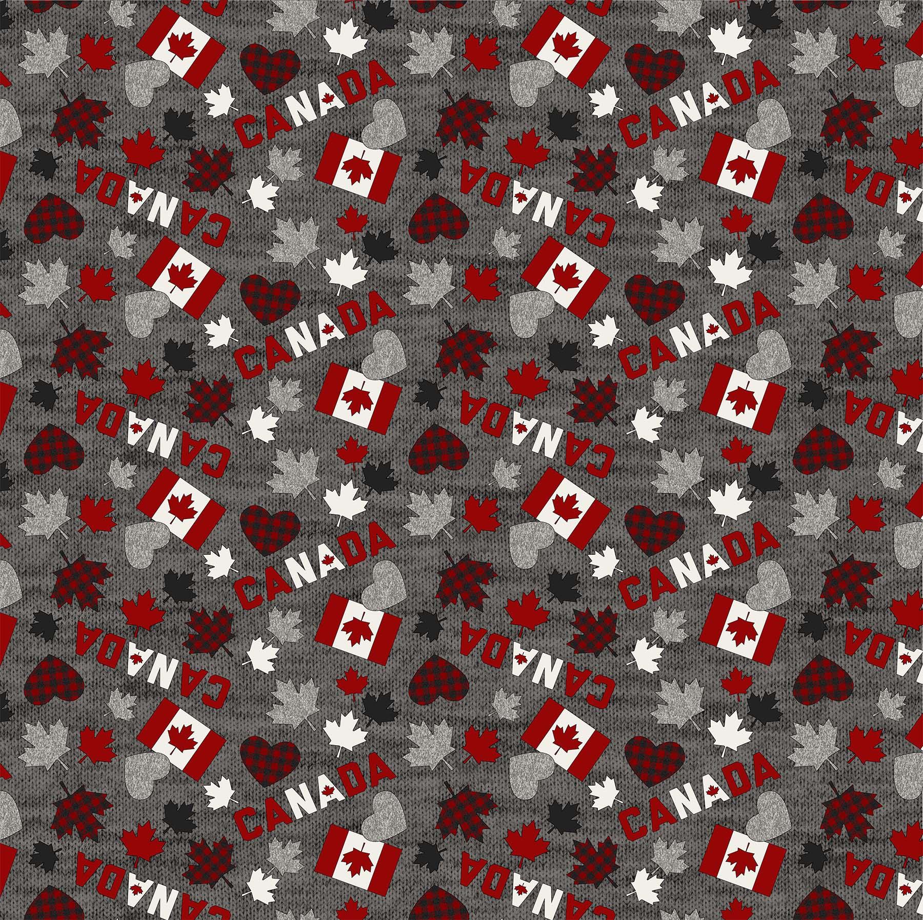 MY CANADA  FLAGS, LEAVES DARK GRAY MULTI